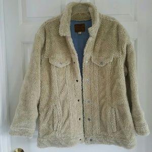 Lucky Brand/ furry snap button jacket